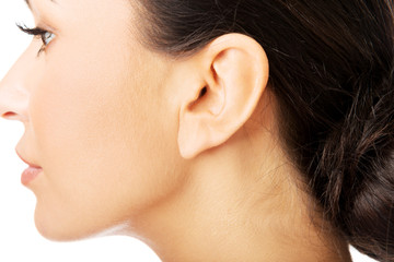Closeup picture of woman's ear