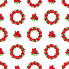 Christmas background with poinsettia wreath