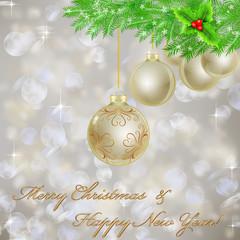 Golden Christmas balls with Christmas light