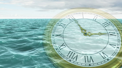 Clock ticking against ocean animation