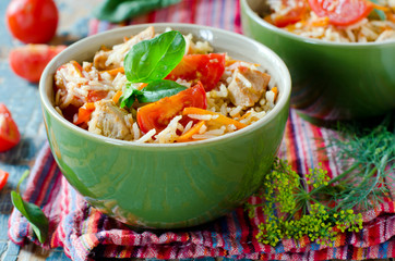 Rice fried rice with meat and vegetables