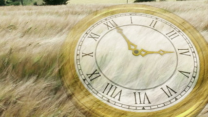 Clock ticking over wind blowing grass