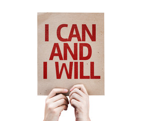 I Can and I Will card isolated on white background