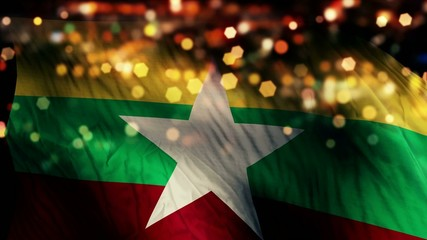 Myanmar Flag Light Night Bokeh Abstract Loop Animation