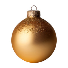 Christmas, New year golden ball isolated on white background.