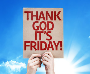 Thank God It's Friday card with sky background