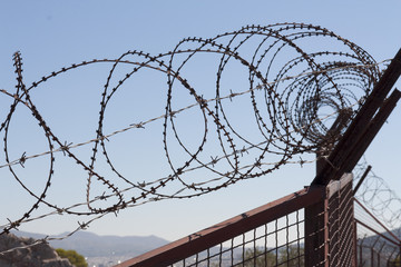 Security with a barbed wire fence. Protection concept design.