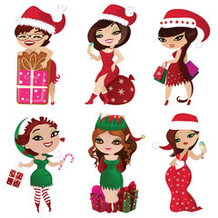 Set of elves and santa girls