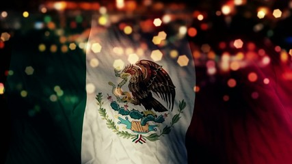 Mexico Flag Light Night Bokeh Abstract Loop Animation