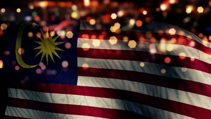 Malaysia Flag Light Night Bokeh Abstract Loop Animation