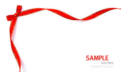 Shiny red and gold border ribbon   on white background with copy