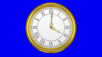 Gold clock on blue background