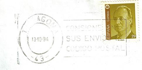 Sello del rey Juan Carlos I, matasellos, filatelia, Tarragona