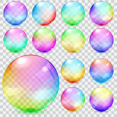 Colorful transparent glass spheres