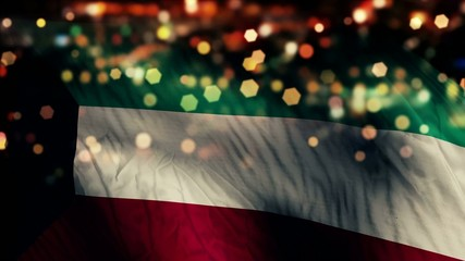 Kuwait Flag Light Night Bokeh Abstract Loop Animation