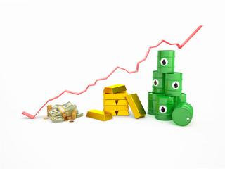График цен на валюту, золото, нефть.