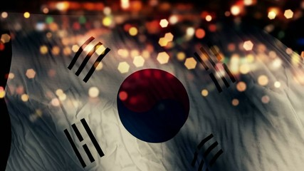 South Korea Flag Light Night Bokeh Abstract Loop Animation