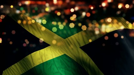 Jamaica Flag Light Night Bokeh Abstract Loop Animation
