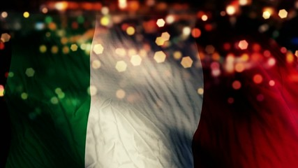 Italy Flag Light Night Bokeh Abstract Loop Animation