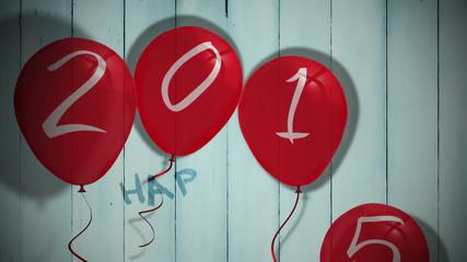 2015 balloons against wooden planks