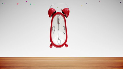 Cute alarm clock counting to midnight with confetti