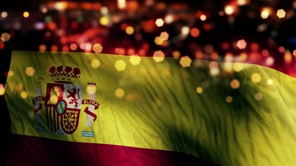 Spain Flag Light Night Bokeh Abstract Loop Animation