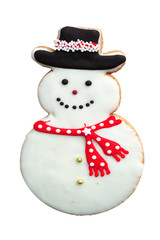 Snowman Gingerbread Man Cookie isolated on white background
