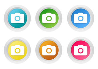 Set of rounded colorful buttons with camera symbol