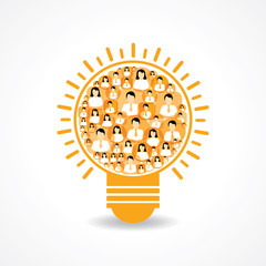 Group of male and female icons make a light-bulb stock vector