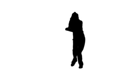 Woman dancing in black silhouette
