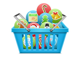 Christmas icon in basket