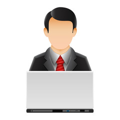 Customer representative with laptop