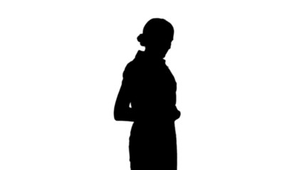 Woman getting stomach pain in black silhouette