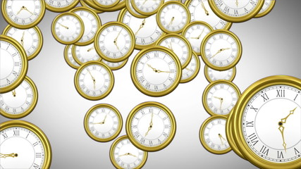 Falling clocks on grey background