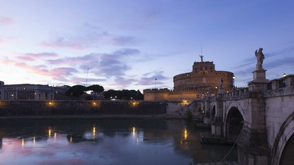 Time lapse zoom out Rome Castel Sant Angelo