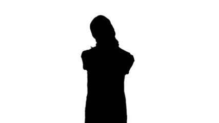 Woman getting neck pain in black silhouette