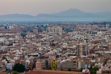 Aerial view of evening Alicante