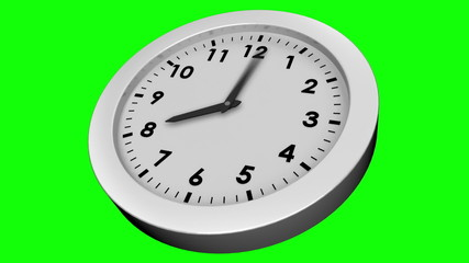 Ticking clock on green background