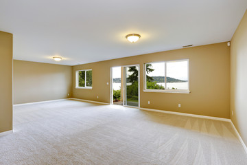 Spacious family room with clean carpet floor and exit to walkout