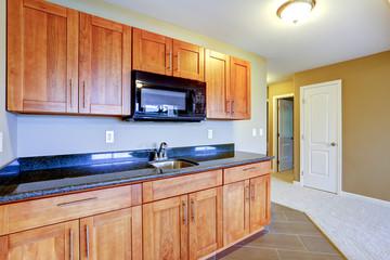 Kitchen storage combination with black top