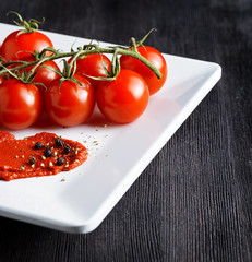 Ripe tomatoes and tomato paste