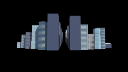 Cityscape on black background
