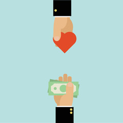 hands with money and heart