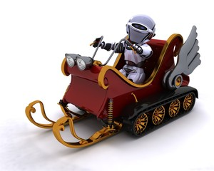 Robot on a snowmobile sleigh