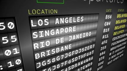 Black departures board showing delayed flights