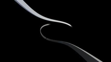 White lines swirling on black background