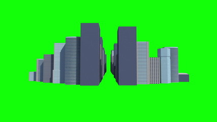 Cityscape on green background