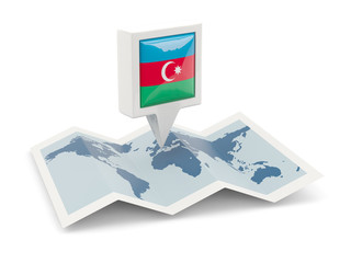 Square pin with flag of azerbaijan on the map