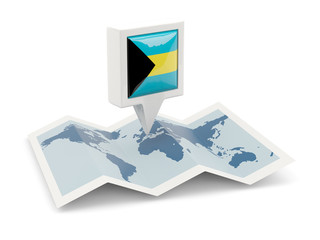 Square pin with flag of bahamas on the map