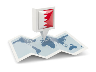 Square pin with flag of bahrain on the map